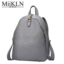 MiiKLN Genuine Leather Women Backpack Solid Fashion New Design Cow Leather Ladies Backpack Bags(China)