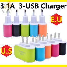 3USB Charger ports 3.1A USB US EU USB Charger Lovely candy color wall charger home plug for Android for iphone 7 cellphone 100ps