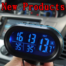 Three-in-one car detector tool digital thermometer infrared &outdoor thermometer car clock cell voltage accessories car styling