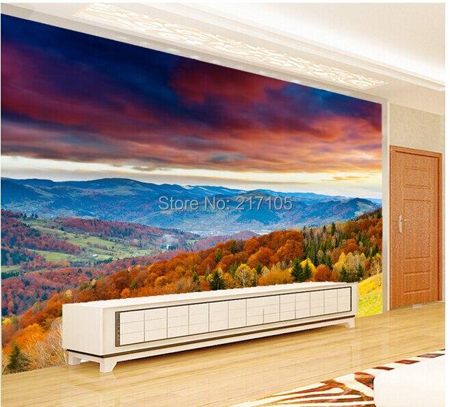 Custom Papel de parede wallpaper for the living room sofa backdrop wall paper vinyl wallpaper forest landscape<br>