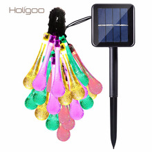 Holigoo 21ft 30 Led Strip Solar Water Drop Outdoor Fairy Lights Lamp Garden String Lighting Halloween Christmas Decoration Led(China)