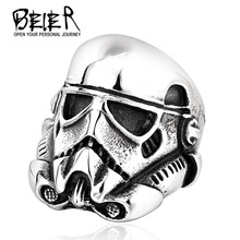 Star Wars Storm Trooper Mask Ring For Boy 316L Titanium Steel Man's Cool Gift Jewelry Ring BR8-264