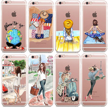 Romantic Paris fashion girl beach trip Clear Hard Case Cover for iPhone 5 5s SE 6 6s 7 7 6 Plus Summer Outing Travel Relax Beach