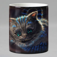 Free shipping 11OZ funny cat animals Heat Reveal Mug Ceramic Color Changing Coffee Mug Magic Tea Cup Mugs best gift(China)