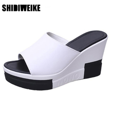 SHIDIWEIKE Women's Slides Black White Mix Color Fashion Wedges High Heel Slippers woman Summer Casual Comfortable Shoes B946