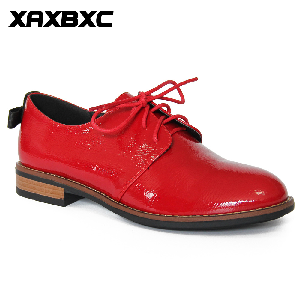 XAXBXC Retro British Style Leather Brogues Oxfords Red Lower Heels Women Shoes Bowknot Lace Handmade Casual Lady Shoes