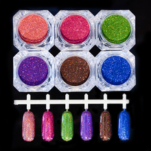 1.5g/Box Holographic Laser Powder Nail Glitter Gorgeous Glitter Powders 6 Colors(China)