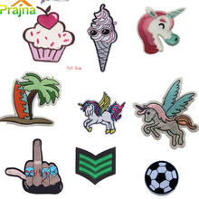 1PCS Hand Camera Unicorn Patch Iron On Cartoon Patches Cat Cheap Embroidered Cute Sewing Patches For Clothes Soccer Badges(China)