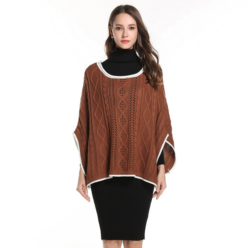 82b61f7c95 women s oversized pullover sweaters plus size cloak fall clothing cable  knit sweater ladies pullovers casual poncho tops ZJ046