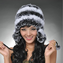 2017 Super warm winter women genuine rex rabbit fur hat ear muffs Rex Rabbit cap lady luxury fur hat High quality(China)