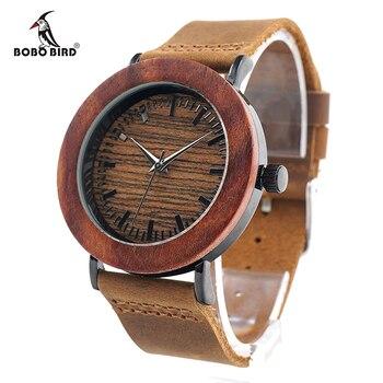 Bobo bird k20 de ébano de madera y acero reloj retro dial negro cara Banda de Cuero Marrón Suave Montre Femme Como Regalo Para Las Mujeres Relogio