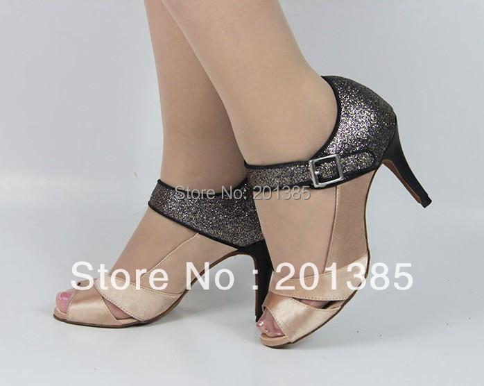 Women Flesh Satin Glitter LATIN Dancing Shoes Ballroom Shoes Salsa Dance Shoes Tango Dance Shoes Size 34,35,36,37,38,39,40,41<br><br>Aliexpress