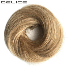 [DELICE] Women's High Temperature Fiber Synthetic Straight Rubber Band Scrunchie Wrap Hair Ring, 27T613 Piano Color 30g/10cm(China)