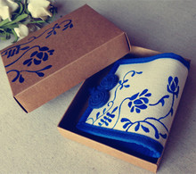 Collectibles Chinese Style Hand-Painted Graffiti Blue Flower Pattern Handmade Art Gifts Wallet