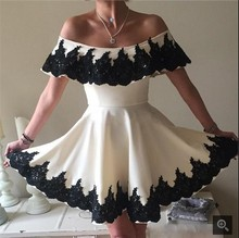 Ivory Black Tow Toned Short Prom Dresses Off the Shoulder Lace Appliques Informal Cocktail Party Prom Gowns Cute Informal Sale