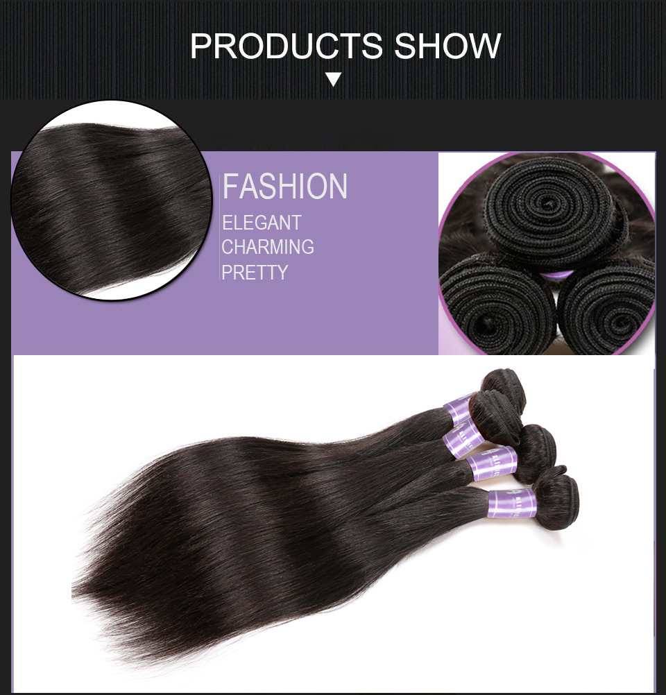 Indian Straight Hair Bundles Human Hair Weave Bundles Non-Remy Hair Extensions Alimice Hair Weaving Double Weft Natural Color (9)