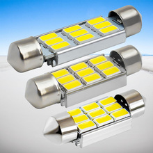 4pcs 36mm 39mm 42mm 6418 C5W C10W SV8.5 9 SMD 5630 LED White CANBUS Error Free Car License Plate lights Dome Reading Lamp white