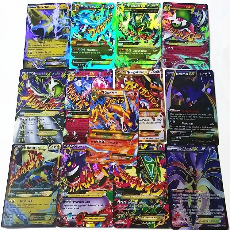 60 Pcs /Set EX POKEMAN Mega Cards Shine English XY EX Cards 13 mega + 47 ex No repeat Kids flash card kid children Toys Gifts<br><br>Aliexpress