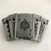 Spades 10JQKA Playing Cards Kerosene Lighter Cowboy Belt Buckles With Metal Man Belt Head Jeans accessories For 4cm Wide Belt(China)