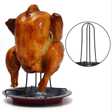 1Set Carbon Steel Chicken Roaster Rack With Tray Non-Stick BBQ Grilling Cooking Pans Barbecue Tools Kitchen Gadgets Christmas