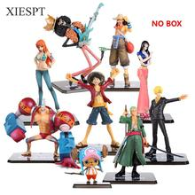 XIESPT One Piece PVC Action Figure Toys No Box Luffy Zoro Robin Nami Franky Brook Chopper Sanji Usopp Figurine For Gifts