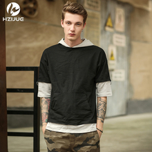 HZIJUE 2017 Original Design fashion street wear Fake two pieces street style male brand t shirts hip hop clothes