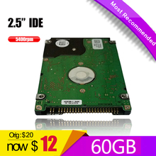 "USED OLD HDD 2.5"" 60GB IDE Laptop Hard Drive 60G PATA   HD   Notebook Hard Disk Drive interno Disco Duro Hot Selling"