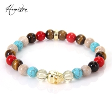 Thomas Red Coral Colorful Material Mix Featuring Gold Skull Bead Bracelet, Glam Jewelry Soul Gift for Women TS 193