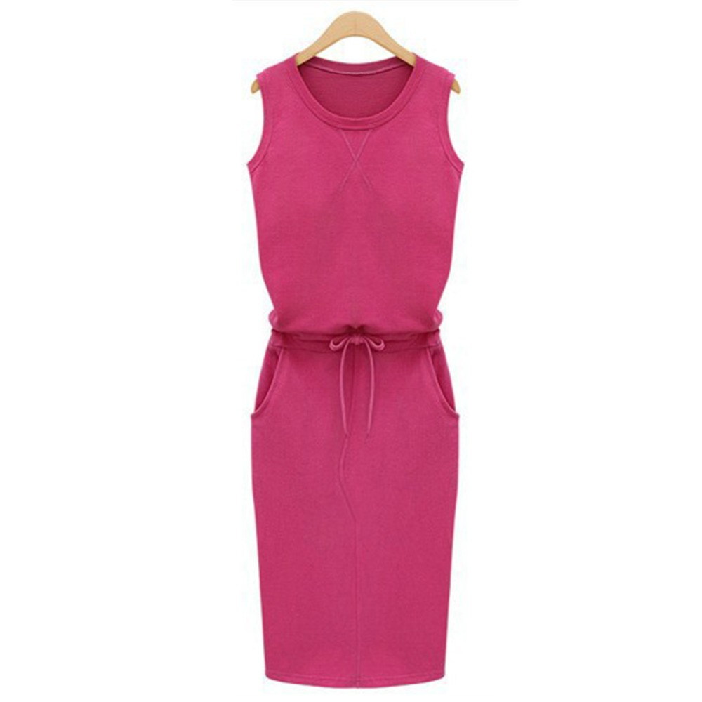 Pure-Color-Patchwork-Shift-Vestidos-Summer-Fashion-Women-Ladies-Casual-Dress-Roound-Neck-Sleeveless-Solid-Slim (3)