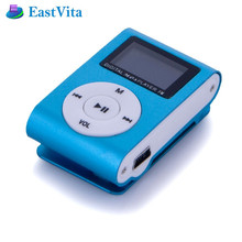 EastVita Metal Clip Digital MP3 Player FM Radio LCD Screen MP3 for 2GB/4GB/8GB/16GB TF Card with Earphone Char0ge Cable  BF02