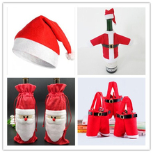 8pcs/set Christmas Wine Bottle Lid Christmas Decorations Red Santa Claus Cover Hats for The Dinner Candy Bag Party Christmas Set(China)