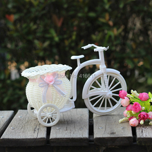 Big Wheel Round Flower Basket Simulation Rattan Floats Flower Vase Flowerpots Containers Small Photography Props bike/flower pot