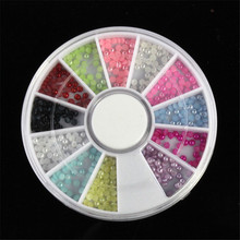 Best Price! 1680pcs 2.0mm Nail Art Tip Set Half Round Baby Color Pearl Wheel 100% brand new and high quality 2017 Anne(China)