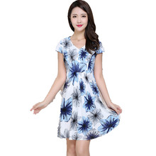 Women's Summer Slim Milk Silk One-piece Dress Female Clothing Plus size L-4XL Floral Print Ladies Dress