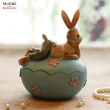 Home decoration accessories Rural Pastoral Resin Rabbit Jewellery box Nostalgia Gift Kid Toys Bedroom Office Decorate Crafts