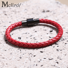 Mcllroy Men Jewelry Geunine Leather Bracelet Hand Chain Vintage Accessories Stainless Steel Bangles Male Bracelets(China)