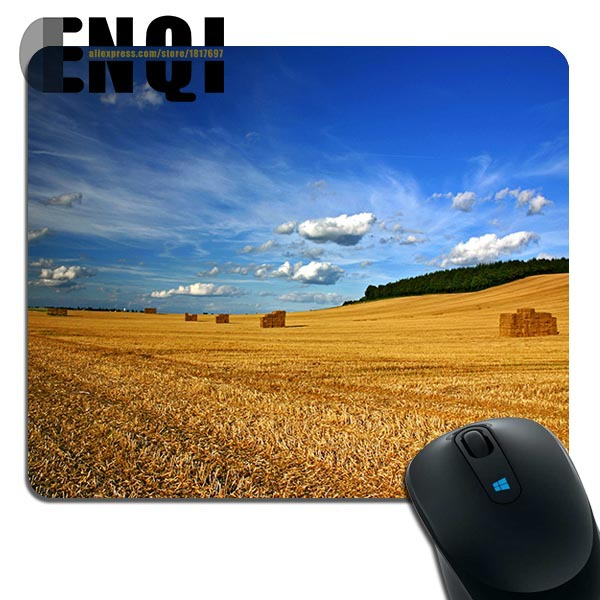 2015 Durable beautiful landscape nature field of hay Background Silica gel Mini Rectangular mouse pad(China (Mainland))
