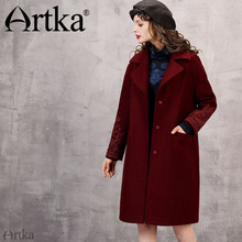 Artka 2017 Autumn& Winter New Collections 55% Wool Contained Vintage Wine Red Embroidery Button Middle Long Coat(China)