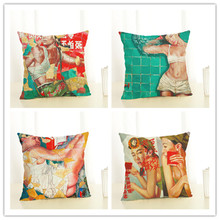 2017 New Arrival Creative Fashion Romantic Lovers Pillow Cushion Cover Home Decorative Printed Throw Pillowcase Cojines Almofada(China)