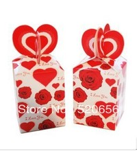 Free shipping rose and heart I Love You wedding favors candy boxes gift box valentine chocolate box party supplies 100pc/lot
