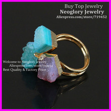 5PCS Amazing Natural Druzy Ring with Gold Edged Glass Ring Pink and Blue Gems Druzy Glass Ring Crystal Drusy Quartz  Ring
