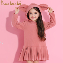 Bear Leader Girls Dress 2017 New Autumn Brand Baby Girls Blouse Rabbit Ears Hooded Ruched Long Sleeve Children Dress 2-6 Years(China)