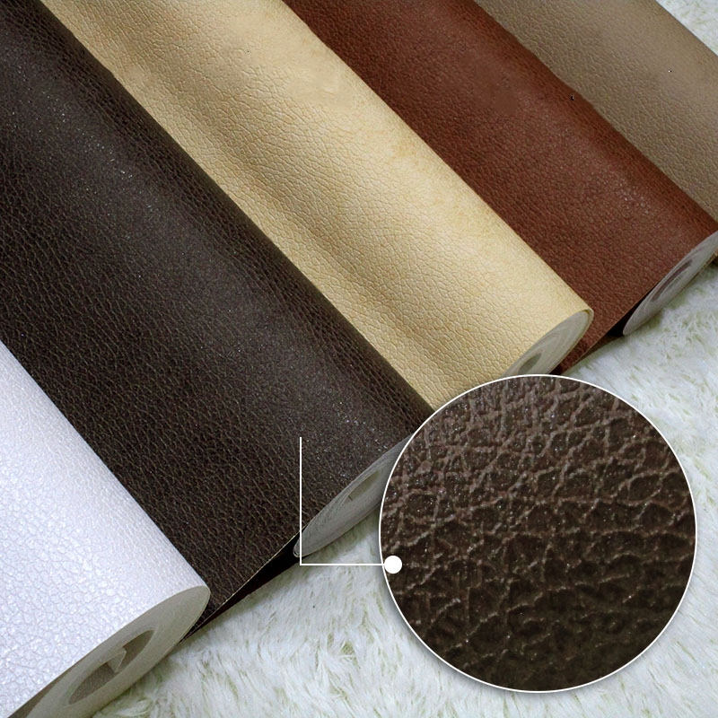 white leather wallpaper waterproof pvc scrub wiredrawing faux leather wallpaper hotel decoration wallpaper<br>