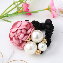 New Fashion Pearls Rose Flower Scrunchy  Girls Headband Satin Big Three Pearls Ponytail Elastic Hair Accessories Hair Band
