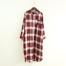 2017 Casual Oversize Long Blouse Plus Size Loose Red Blue White Plaid Full Sleeve Boy Friend Single Buttons Large Check Shirt(China)