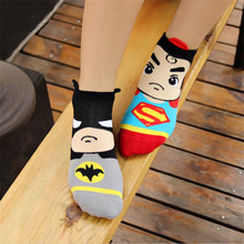 New Hot-sell women cartoon socks Spring Summer and Autumn fashion 3D sock women's and lady cute superman cotton short socks(China)