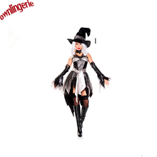 New hot Halloween Party Women Witch Costume Sexy Swallow Tail Braces Fancy magician Performances Dress with hat(China)