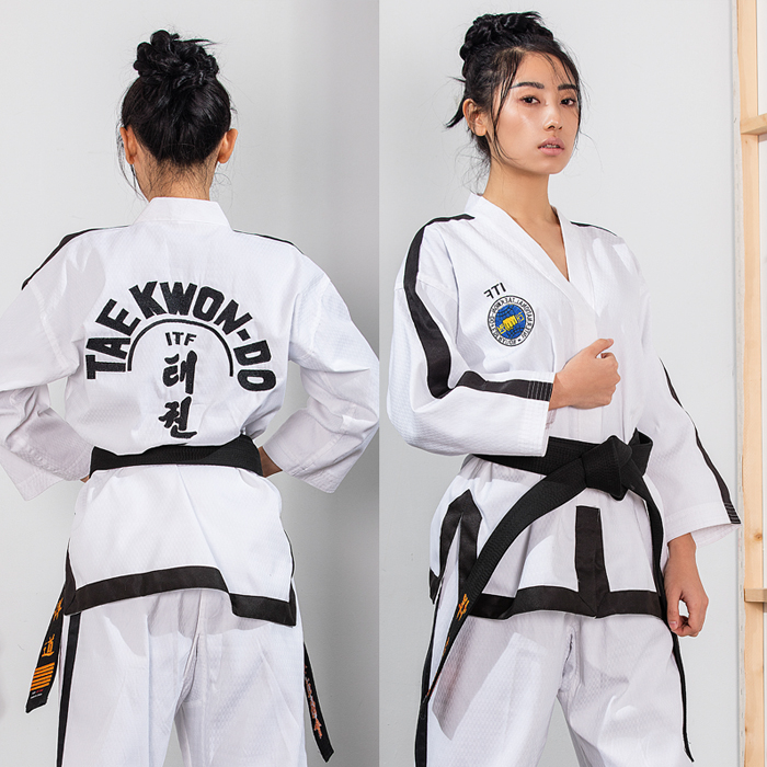 The high-end ITF full cardigan normal adult long sleeved doboks full stitch Taekwondo clothes<br><br>Aliexpress