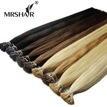 "MRSHAIR 1g/pc 16"" 20"" 24"" Non-Remy Pre Bonded Hair Extensions I Tip Straight Keratin Human Hair On Capsule Real Hair 50pcs(China)"