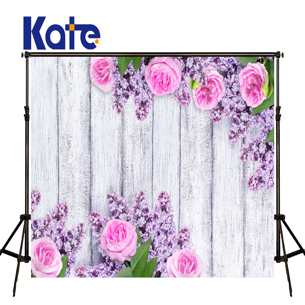 KATE Photo Background ValentineS Day Backdrop Floral Background Backdrop White Wood Wall Backdrops Wedding Photo for Studio<br>